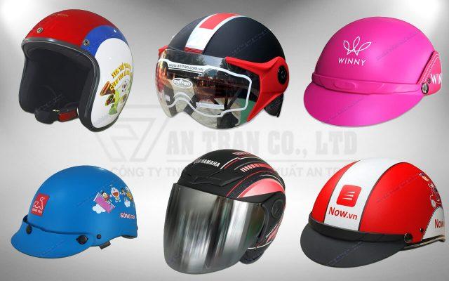 các loại nón bảo hiểm quảng cáo
